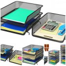 Stackable Desk File Document Letter Tray Organizer 3 Pack Black Steel Black New