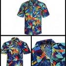 APTRO Mens Colorful Floral Print Short Sleeved Summer Beach Shirt Dark Blue XL