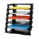 Rubbermaid Regeneration Letter Tray, Six Tier, Plastic, Black Self-Stacking New