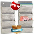 mDesign Wall Mount/Over the Door Fabric Office Supplies Storage Organizer...