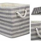 "DII Oversize Woven Paper Storage Basket Medium Gray & White Basket 15x10x12"" New"