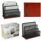 KLEAREX Black Durable Mesh Metal Letter Sorter Three Slot Mail And File Holder