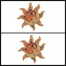 """George S. Chen Imports Polyresin Orange Mosaic Face Sun with Yellow Moon, 13"""""""