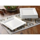 Better Homes and Gardens Square Salad Plates, White, Set of 6. Porcelain