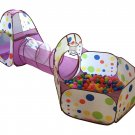 Playz 3-Piece Kids Play Tent Crawl Tunnel and Ball Pit with Basketball Hoop...
