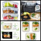 3 Pack 2 Compartment Glass Meal Prep Food Storage Lunch Containers with Lids new