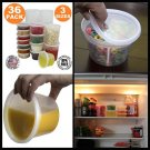 New 36-packs Round Plastic Deli Cups Food Storage Stackable Reusable Containers