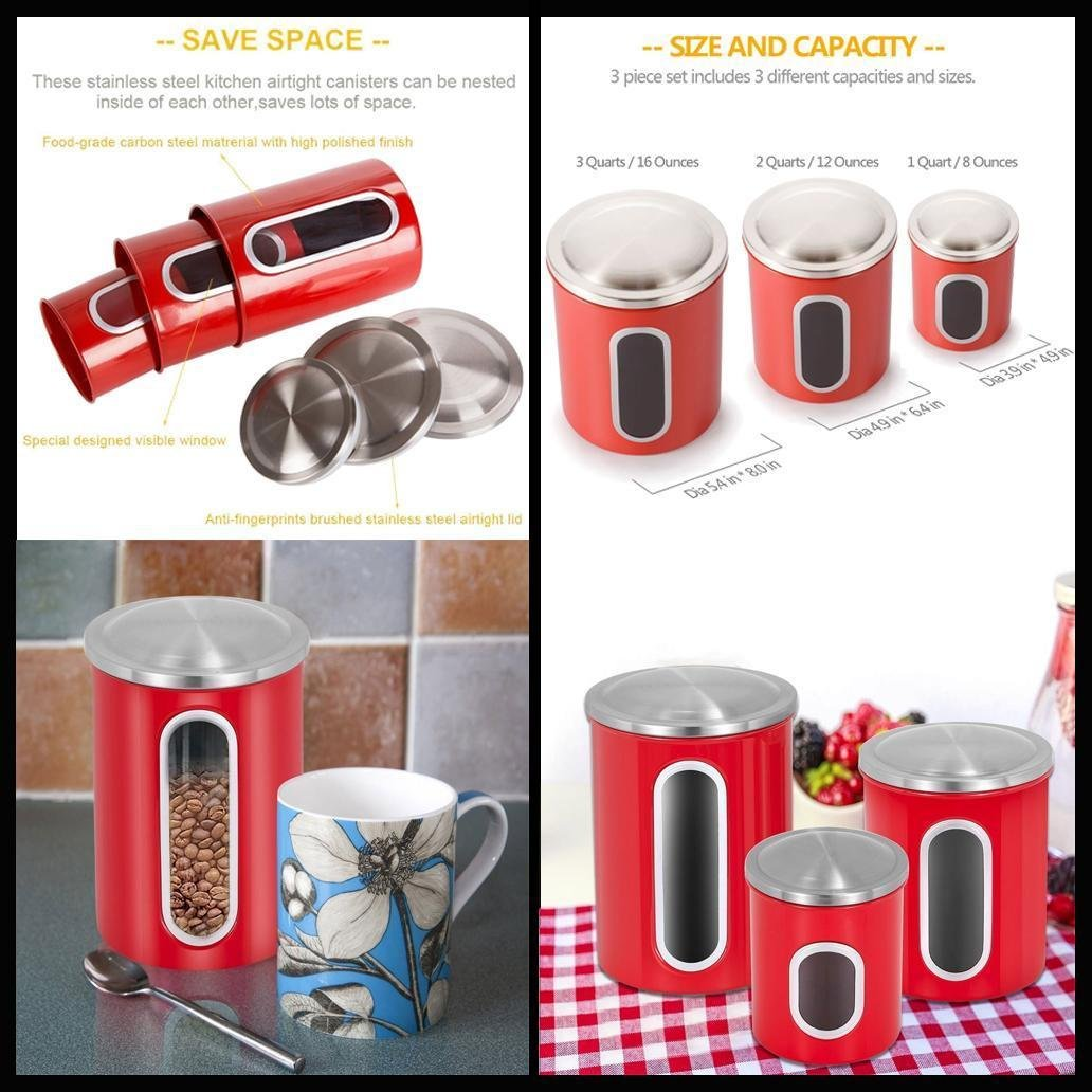 New 3-Pieces Multi-Purpose Window Canister Anti-Fingerprint Stainless Steel Set