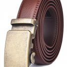 "Men's Automatic Buckle Ratchet Leather Dress Belt 30mm Wide 1 1/8"" Brown1 New"