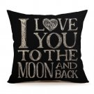 New I Love You To The Moon And Back Home Decor Throw Pillow Case Cushion Cover
