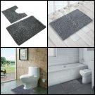 Non Slip Bath Shower Mat Microfiber Bathroom Toilet Floor Contour Rugs Combo NEW