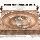 """Flat Earth Map - of the Square and Stationary -Orlando Ferguson- Poster 24""""..."""