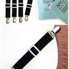 Set of 4 Bed Sheet Fasteners Adjustable Suspenders Bedding Strap Holder Black