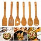 6 Pieces Premium Kitchen Cooking Tool Utensils Set Natural Bamboo Spoon Spatula