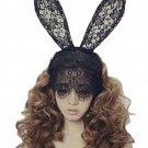New Women Bunny Rabbit Ears Venetian Filigree Lace Veil Costume Masquerade Party
