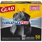 New Durable 50-Count Glad Dual Defense Large Wide Drawstring Trash Dirt Bags US