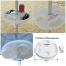 12 Inch Round Durable Plastic Beach Umbrella Table with Cup Holders White New