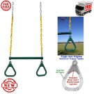 "Jungle Gym Kingdom 18"" Trapeze Swing Bar with Rings 48"" Heavy Duty Chain Set..."