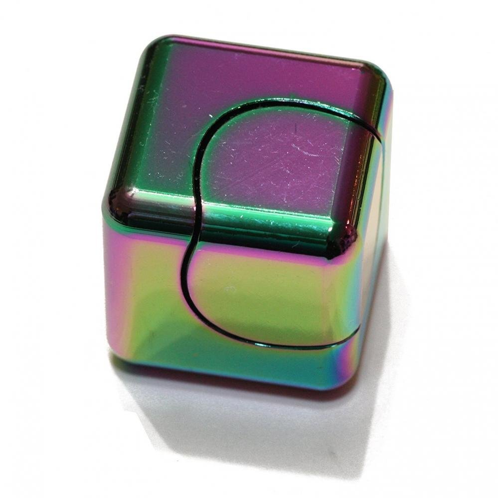Zinc Metal Rainbow Rotorland Cube Fidget Spinner with Case Novelty Spinning Tops