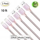 Iphone 7 Extra Long Nylon Braided 3Pack 10FT Cord Charging and Syncing cable new