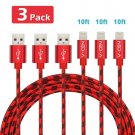 Apple 3-Pack 10ft Long Nylon Braided Powerline Lightning Iphone Charging Cable