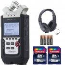 Zoom H4n Pro 4-Channel Handy Recorder + Headphones + Batteries + 32 Gb Memory