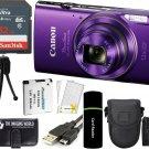 Canon PowerShot ELPH 360 HS 20.2MP 12x Zoom Digital Camera - Purple +32GB Bundle