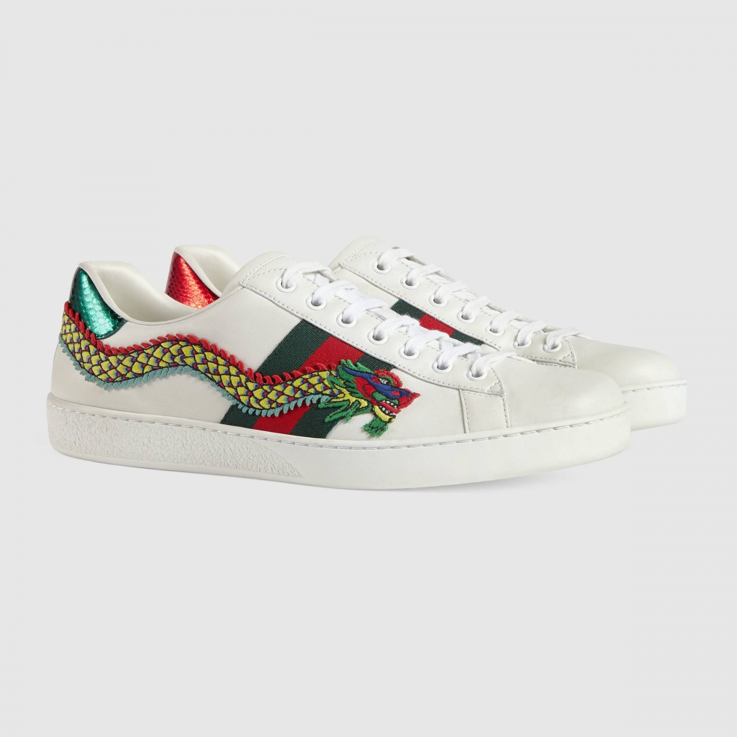 Gucci Ace White Red Green Dragon Embroidered Low Top Lace Up Flat Sneaker