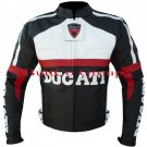 Ducati Black Pure Cowhide Leather Safety Jacket For Bikers -- Free Shipping