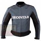 New Arrival Cowhide Leather Safety Motorbike Jacket ... Honda 5523 Grey Coat