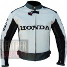 New Outstanding Arrival Pure Cowhide Leather Racing Jacket ... Honda 5523 White