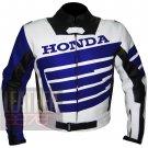 Honda 9019 Blue Excellent Design Cowhide Leather Bikers Safety Jacket ..