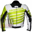 Honda 9019 Fluorescent Pure Cowhide Leather Safety Racing Jacket For Bikers