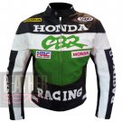 Best Quality Cowhide Leather Safety Racing Jacket ...  Honda CBR Green Coat