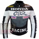 Honda CBR Grey Pure Cowhide Leather Safety Racing Jacket For Professional Bikers