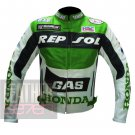 Honda GAS Repsol Green Outclass Cowhide Leather Safety Racing Jacket For Bikers