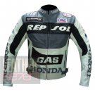 Honda GAS Repsol Grey 100% Pure Cowhide Leather Safety Racing Jacket For Bikers
