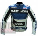 Men's Fashion Design Cowhide Leather Jacket ... Honda GAS Repsol Navy Blue