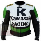 Best Quality Cowhide Leather Safety Racing Jacket For Bikers ... Kawasaki 1 Green