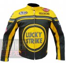 New Arrival Of Pure Cowhide Leather Safety Racing Jacket ... Lucky Strike 0113 Yellow