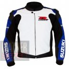 New Men's Designer Cowhide Leather Jackets For Bikers .. Suzuki 1078 Blue Coat