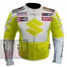 Best Pure Cowhide Leather Safety Racing Jacket ... Suzuki 4269 Fluorescent
