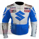 Suzuki 4269 Sky Blue Outclass New Arrival Pure Cowhide Leather Jackets For Bikers