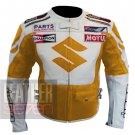 New Outclass Arrival Pure Cowhide Leather Safety Jacket.. Suzuki 4269 Yellow Leather