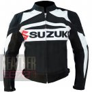Suzuki GSX Black Genuine Cowhide Leather Safety Racing Jackets For Bikers