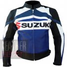 Pure Cowhide Genuine Leather Jackets For Professional Racers .. Suzuki GSX Blue