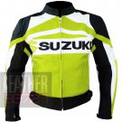 Made By Pure Cowhide Leather Safety Racing Jacket ... Suzuki GSX Fluorescent