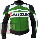 Suzuki GSX Green Pure Cowhide Leather Safety Racing Jacket For Biker Boys