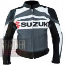 New Best Arrival Of Pure Cowhide Leather Safety Racing Jacket Suzuki GSX Grey