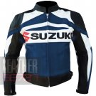 New Arrival Pure 100% Cowhide Leather Safety Racing Jacket Suzuki GSX Navy Blue